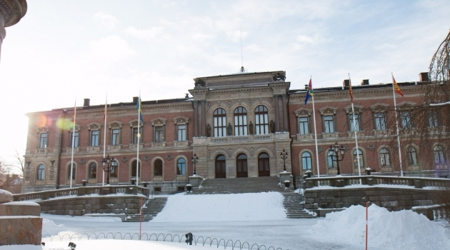 The University Main Building in snow
