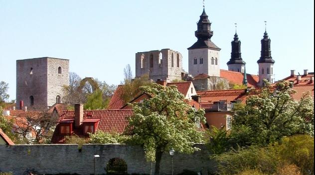 Utsikt från Almedalen i Visby.
