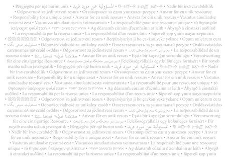 """Texten """"Ansvar för en unik resurs"""" skrivet på en rad olika språk."""