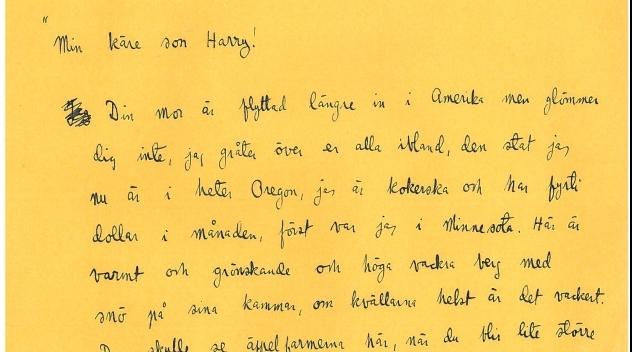 Harry Martinsons egen avskrift av brev från sin mor, odaterat.