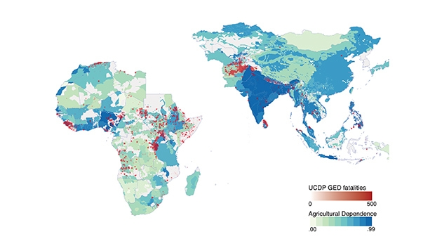 Agricultural dependence and recorded conflict fatalities mapped.
