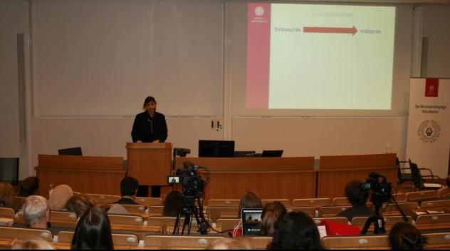 Föredrag på Grammatikdagen 2015 med åhörare och föredragshållare.