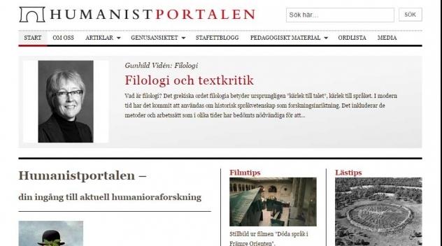 Skärmbild på webbplatsen Humanistportalen.