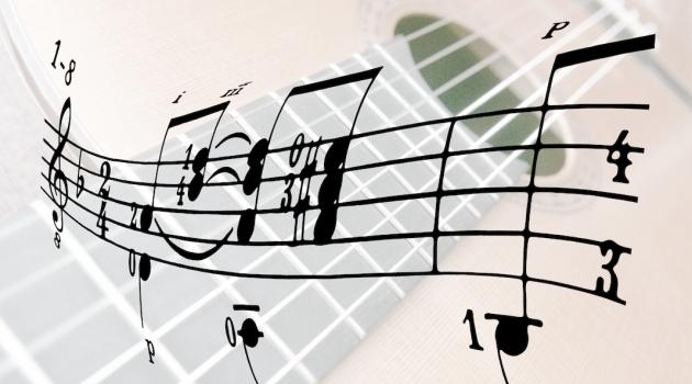En slinga med noter och en gitarr i bakgrunden.