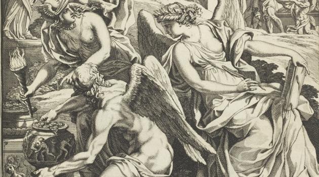 Gravyr med antika bevingade gudomligheter med en kruka full med mynt.
