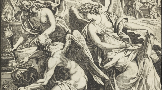 Detail from engraving depicting ancient gods with wings with a pot of coins