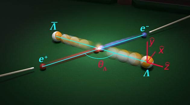 Biljardkulor och biljardköer som illustrerar partikelkollisioner.