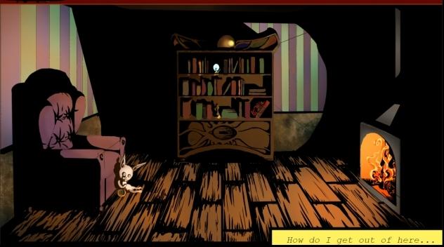 Skärmbild från dataspelet Cryptogram. Ett mörkt rum med bokhylla och läsfåtölj.