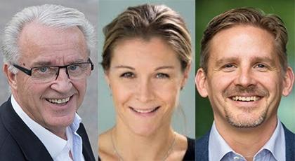 Porträttbilder av Fred Nyberg, Charlotte Skoglund och Mathias Hallberg.
