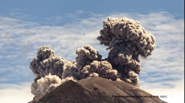 Agung volcano, Bali, erupting on July 6th 2018.