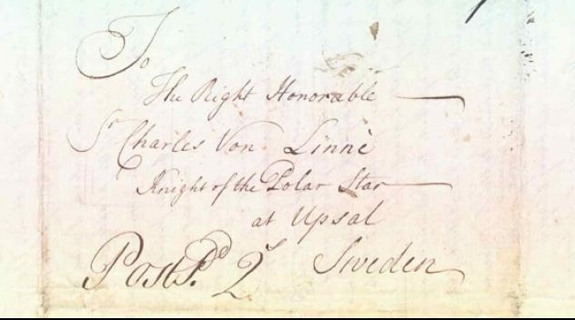 handskrivet kuvert adresserat till Charles von Linné at Upsal Sweden