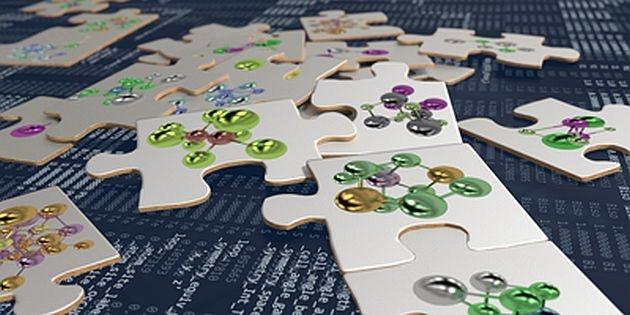 Pusselbitar med färgglada molekyler