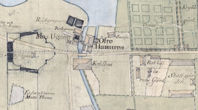 part of handdrawn map of buildings