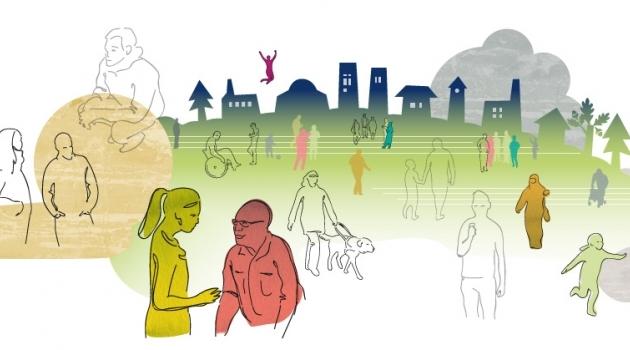 Dekorativ bild: illustration med grupper av människor.