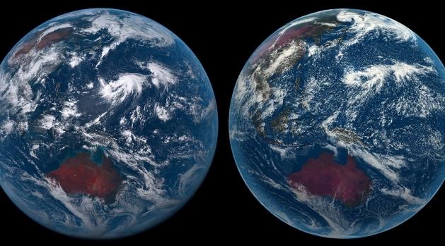 Två jordklot sedda från rymden