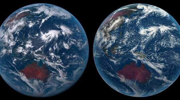 Two earths seen from space