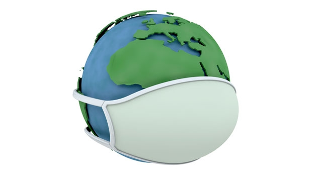 A globe with a face mask