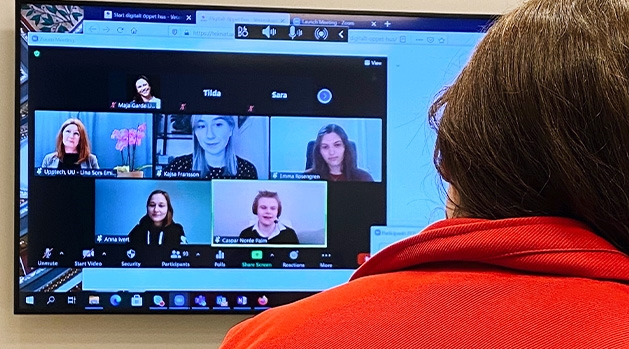 Students on screen during a video meeting