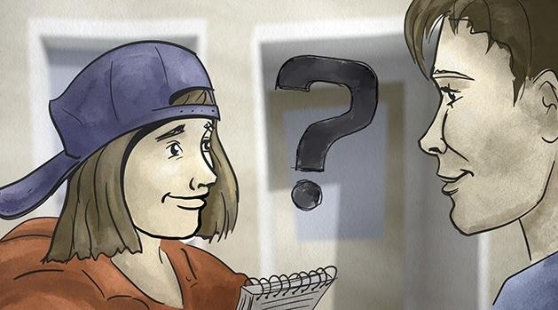 Tecknad elev med keps och block intervjuar person.