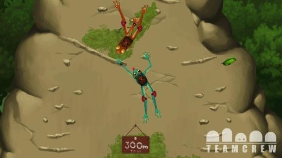 Skärmbild från dataspelet Frog Climbers med två grodor.