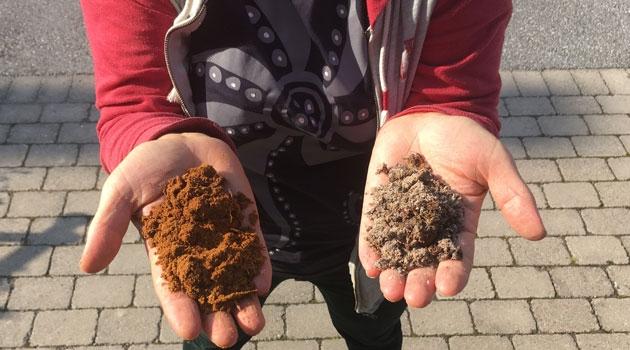 Två händer som visar olika typer av sand