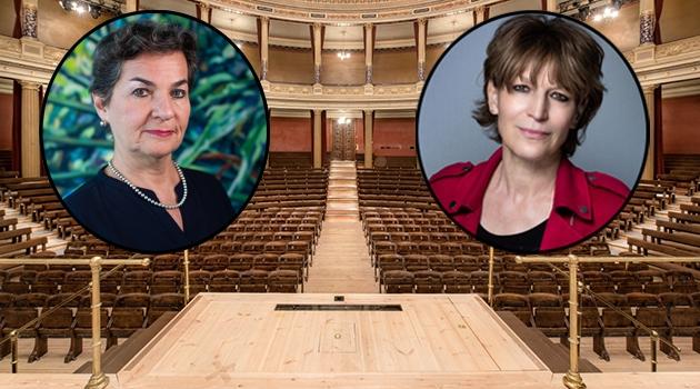 Porträtt av Christiana Figueres och Agnès Callamard inklippta i bild av aulan.