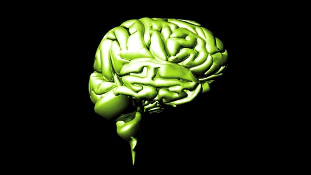 grön människohjärna mot svart bakgrund
