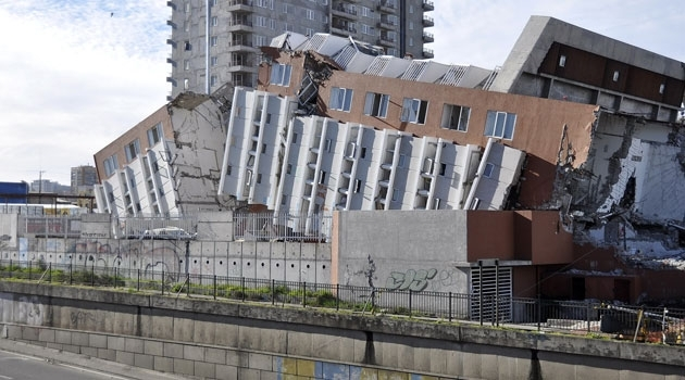 Buildings demolished by an earthquake in Chile.