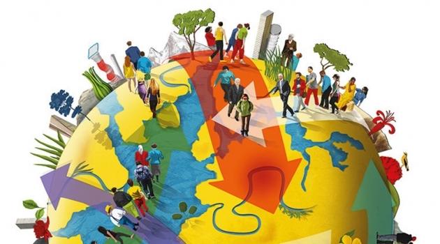 Tecknad bild på glob med människor i rörelse.
