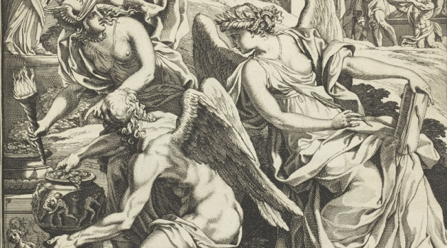 Gravyr med antika bevingade gudomligheter med en kruka full med mynt