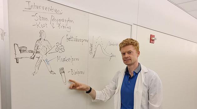 Jonathan Cedernaes pekar på en whiteboard med text och bilder.