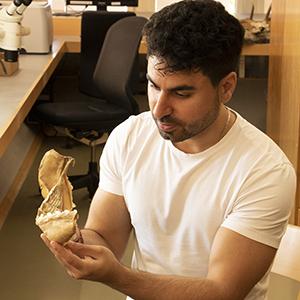Mohamad Bazzi håller i en bit av en hajkäke.