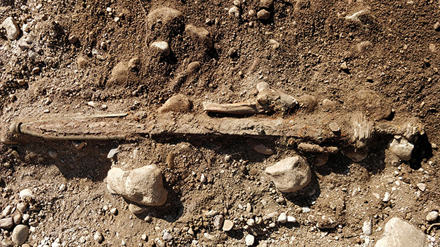 A very ancient sword found during the excavation.