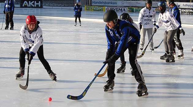 Students playing ice bandy.