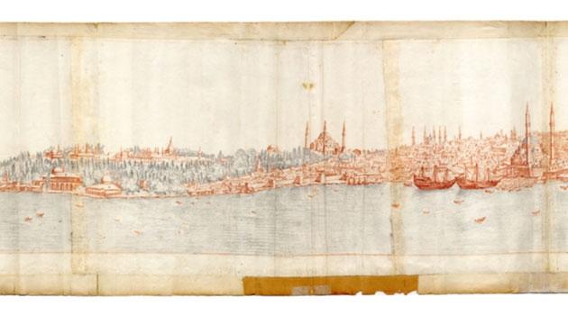 Tecknad panoramabild över Istanbul
