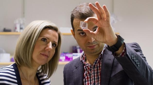 En kvinna och en man tittar på solceller i dynamiska glas.