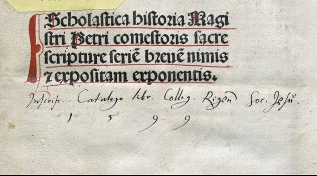 en ägarinskrift av Jesuitkollegiet i Riga på titelbladet i en bok