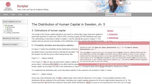 Skärmbild från Scriptor, ett självhjälpssystem för akademisk engelska.