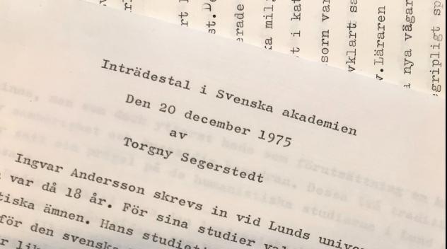 maskinskrivet manuskript med Segerstedts inträdestal i Svenska akademien 1975