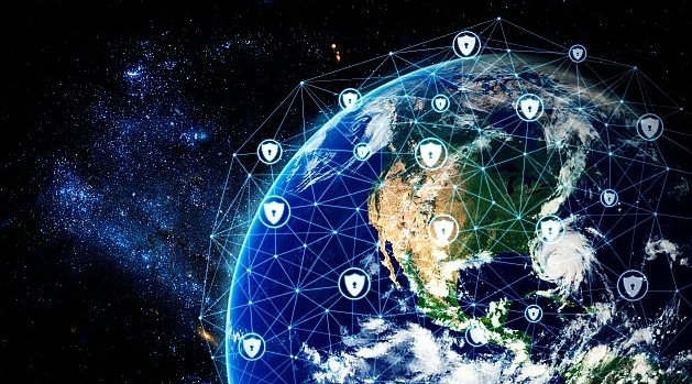 Earth seen from space covered by a cyber network