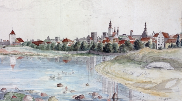 Visby from the old harbour 1845 by Pehr Arvid Säve
