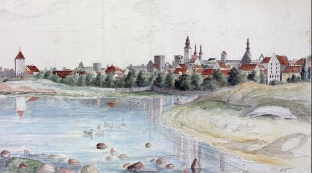 Visby från gamla hamnen 1845 av Pehr Arvid Säve